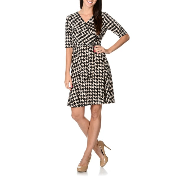 Sandra Darren Women's Hounddstooth Mock Wrap Dress