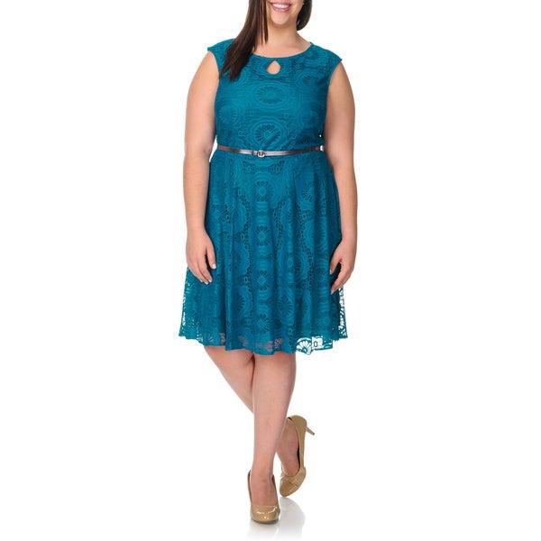 London Times Women's Plus Size Bluejay Lace Keyhole Dress