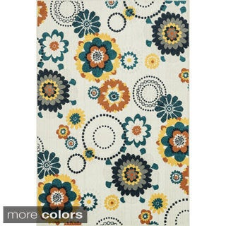 Indoor/ Outdoor Palm Floral/ Multi Rug (5'2 x 7'5)