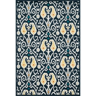Indoor/ Outdoor Palm Navy/ Multi Rug (9'2 x 12'1)