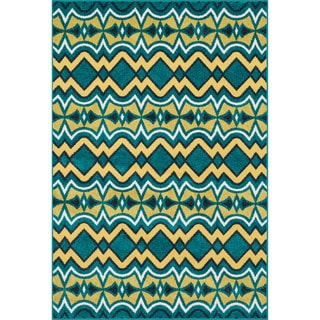 Indoor/ Outdoor Palm Teal/ Citron Rug (7'10 x 10'9)
