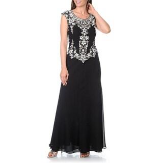 J Laxmi Women's Black Beaded Bodice Evening Gown Dress