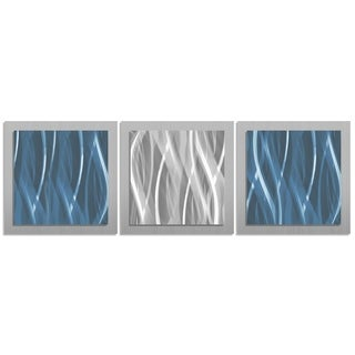 Metal Art Studio 'Blue and Silver Essence' Contemporary Modern Metal Wall Artwork