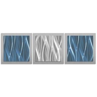 Metal Art Studio 'Blue and Silver Essence' Contemporary Modern Metal Wall Artwork