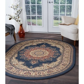 Soho 4707 Navy Blue Oval Traditional Area Rug (5'3 x 7'3)