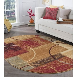 Elegance 5430 Multi Oval Contemporary Area Rug (5'3 x 7'3)