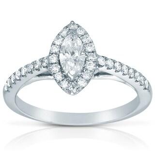 14k White Gold 1/2ct TDW Diamond Marquise Engagement Ring (H-I, I1-I2)