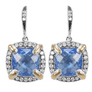MARC 14k Yellow Gold Overlaid Sterling Silver Blue Synthetic Quartz Cubic Zirconia Earrings