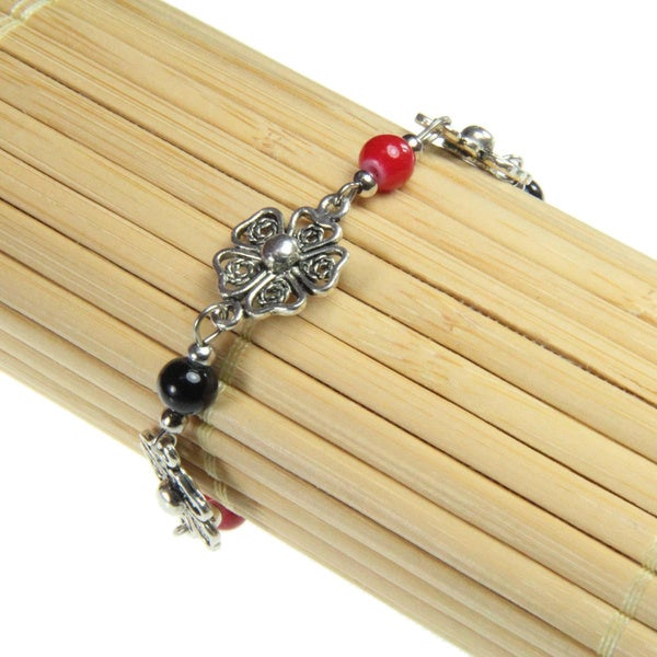 Filigree Flower Red and Black Beaded Bracelet (China)