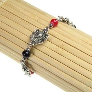 Filigree Flower Red and Black Beaded Bracelet (China)
