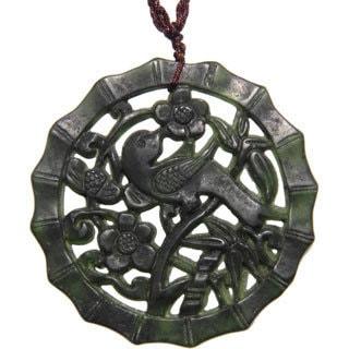 Happy Bird Dark Green Jade Pendant Necklace (China)