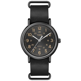 Timex Men's T2P4949J Weekender Forty Black Slip-through Leather Strap Watch