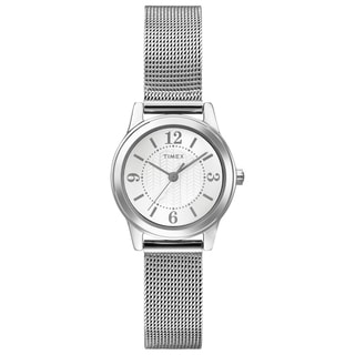 Timex Women's T2P4579J Main Street Modern Mini Silvertone Mesh Watch