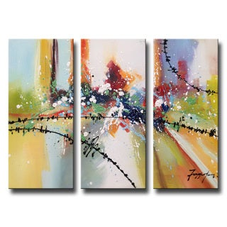 Hand-painted 'Tenderness' 3-piece Gallery-wrapped Canvas Art Set