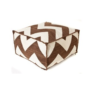 Trendsage Chevron Brown Outdoor Polyester Pouf Ottoman