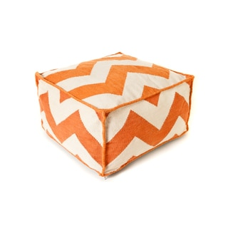 Trendsage Chevron Orange Outdoor Polyester Pouf Ottoman