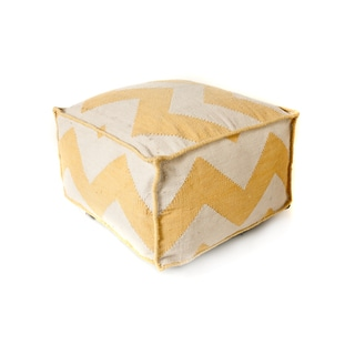 Trendsage Chevron Yellow Outdoor Polyester Pouf Ottoman