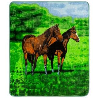 Clara Clark Horse Print Raschel Blanket