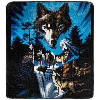 Clara Clark Wolf Print Animal Blanket