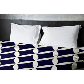 Latte and Spring Navy Geometric Twin Duvet Cover