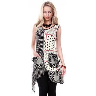 Women's Sleeveless Multi Pattern Patchwork Tunic