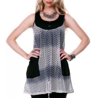 Women's Sleeveless Mesh Pattern Tunic