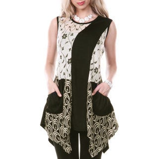 Women's Sleeveless Floral Multi Pattern Lace Tunic
