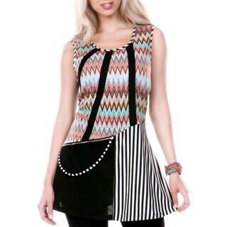 Women's Sleeveless Multi Chevron and Stripe Patterned Tunic