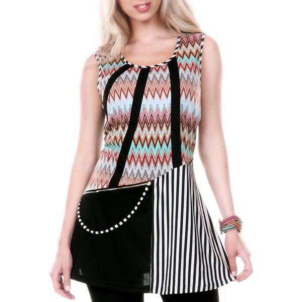 Firmiana Women's Sleeveless Multi Chevron and Stripe Patterned Tunic