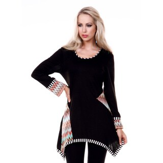 Women's Long Sleeve Multi Chevron Patterned Tunic