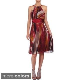 DFI Women's Colorful Halter Neck Short Party Dress
