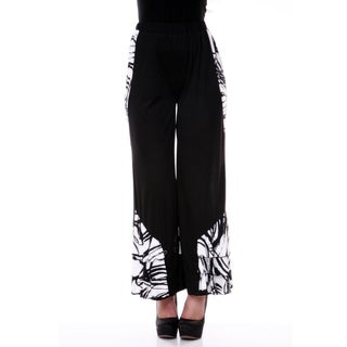Firmiana Women's Black/ White Ruffle Trim Pants