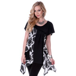 Women's Black Floral Print Short Sleeve Tunic