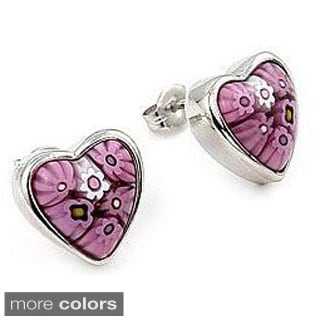 Sterling Silver Millefiori Glass Heart Stud Earrings