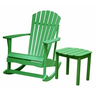 Adirondack Moss Green Rocker with Side Table 2-piece Set