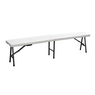 Duralight 6-foot White Granite HDPE Folding Bench