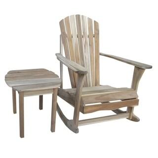 Adirondack Unfinished Acacia Wood Rocker and Side Table Set