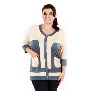 Women's Plus Size Duo Color 3/4-length Sleeve Button-front Cardigan