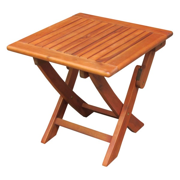 Oiled Acacia Wood Side Table With Folding Legs 16470862