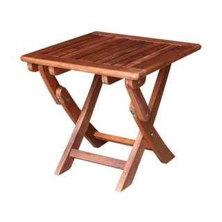 Oiled Acacia Wood Side Table with Folding Legs
