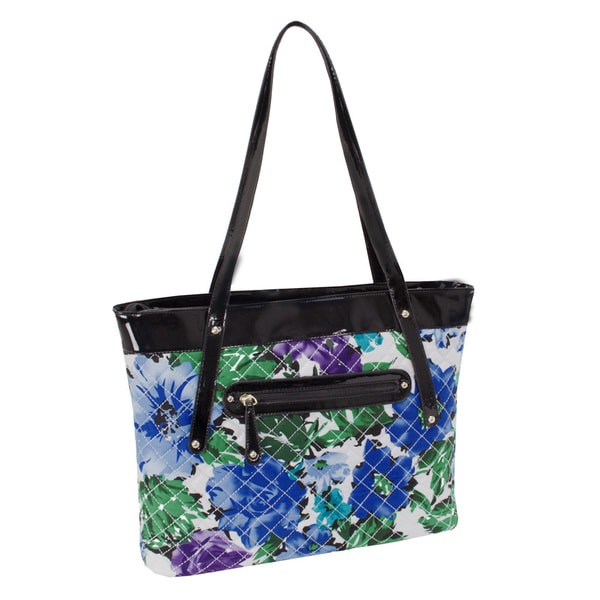 Parinda Fiona Blue Floral Quilted Carry-all Tote Bag