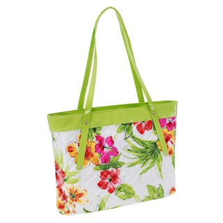 Parinda Fiona Green Floral Quilted Carry-all Tote Bag