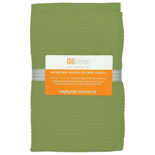 Peridot Green Waffle Microfiber Dishcloth (Set of 2)
