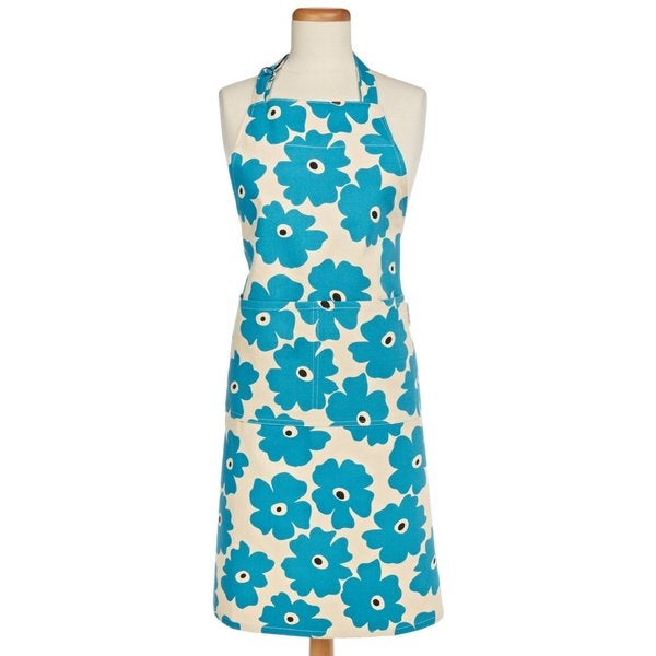 Blue Poppy Cotton Apron