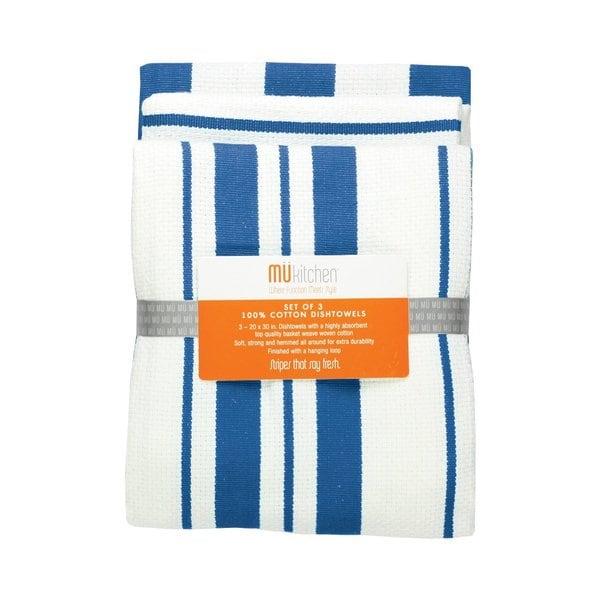 Cobalt Cotton Stripe Dishtowel (Set of 3)