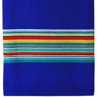 Blue Martini Waffle Stripe Cotton Cloth (Set of 2)
