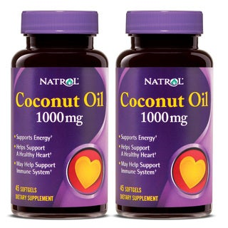 Natrol Coconut Oil 1000 mg Softgels 45 Count (Pack of 2)