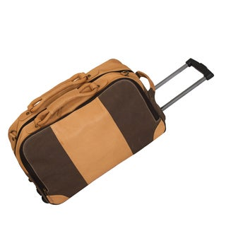 Sandstone Collection 22-inch Wheeled Leather Canvas Carry-on Rolling Duffle
