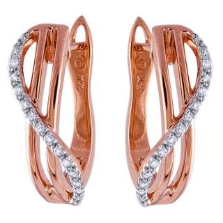Beverly Hills Charm 10k Rose Gold 1/10ct TDW Diamond Hoop Earrings (H-I, I2-I3)