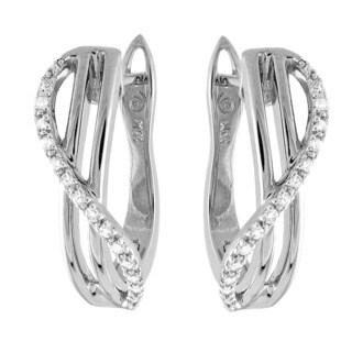 Beverly Hills Charm 10k White Gold 1/10ct TDW Diamond Hoop Earrings (H-I, I2-I3)